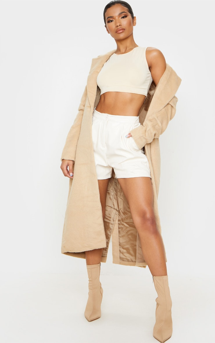 Cream Faux Leather Tailored Shorts 1