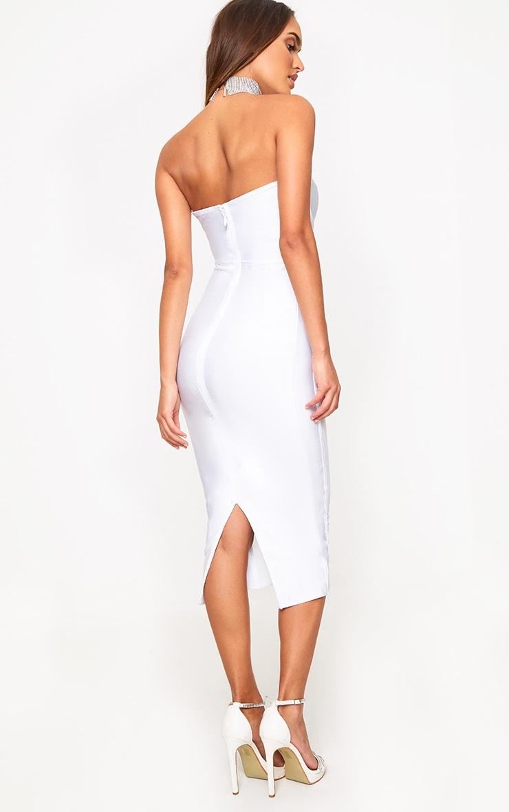 White Bandage Mesh Insert Midi Dress  2