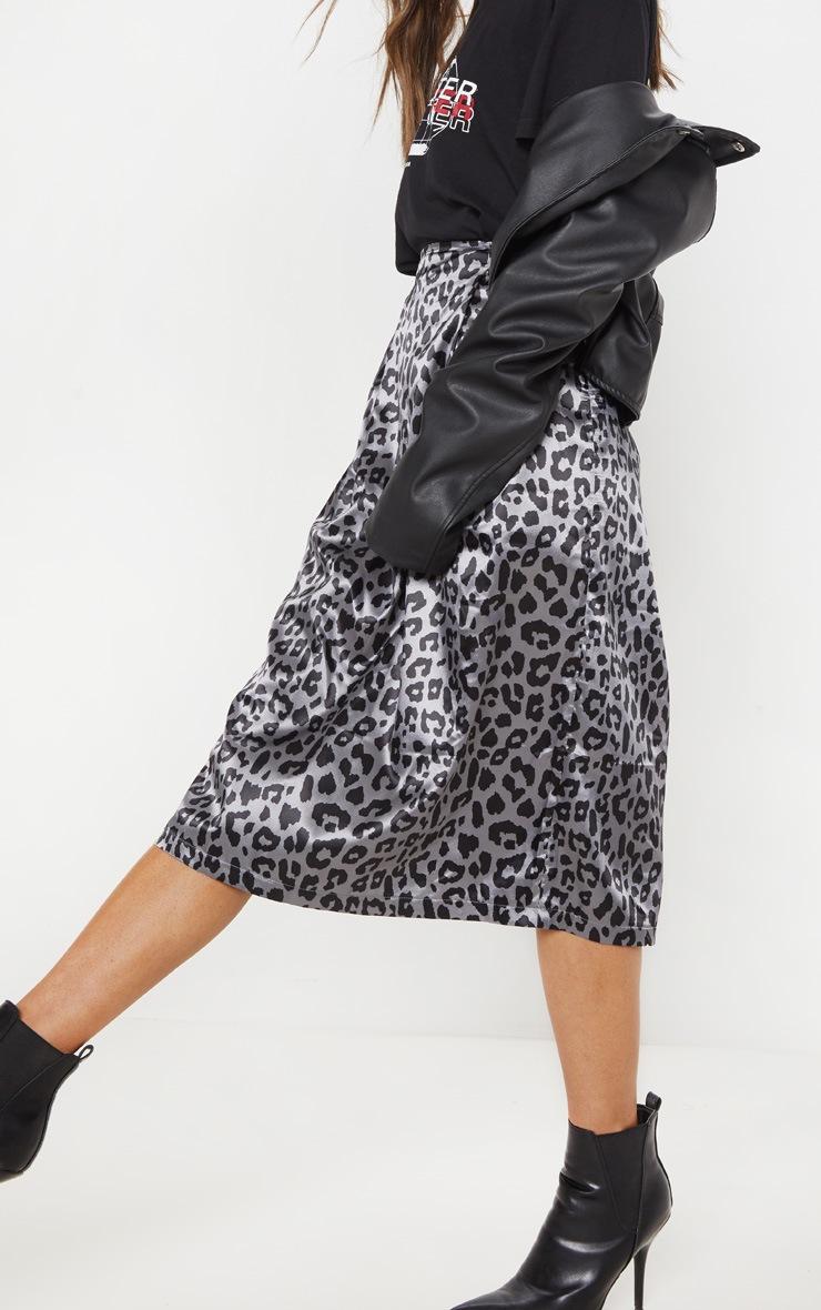 Charcoal Leopard Print Pleat Front Woven Midi Skirt 5