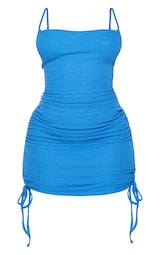 Shape Bright Blue Textured Ruched Side Bodycon Dress 5