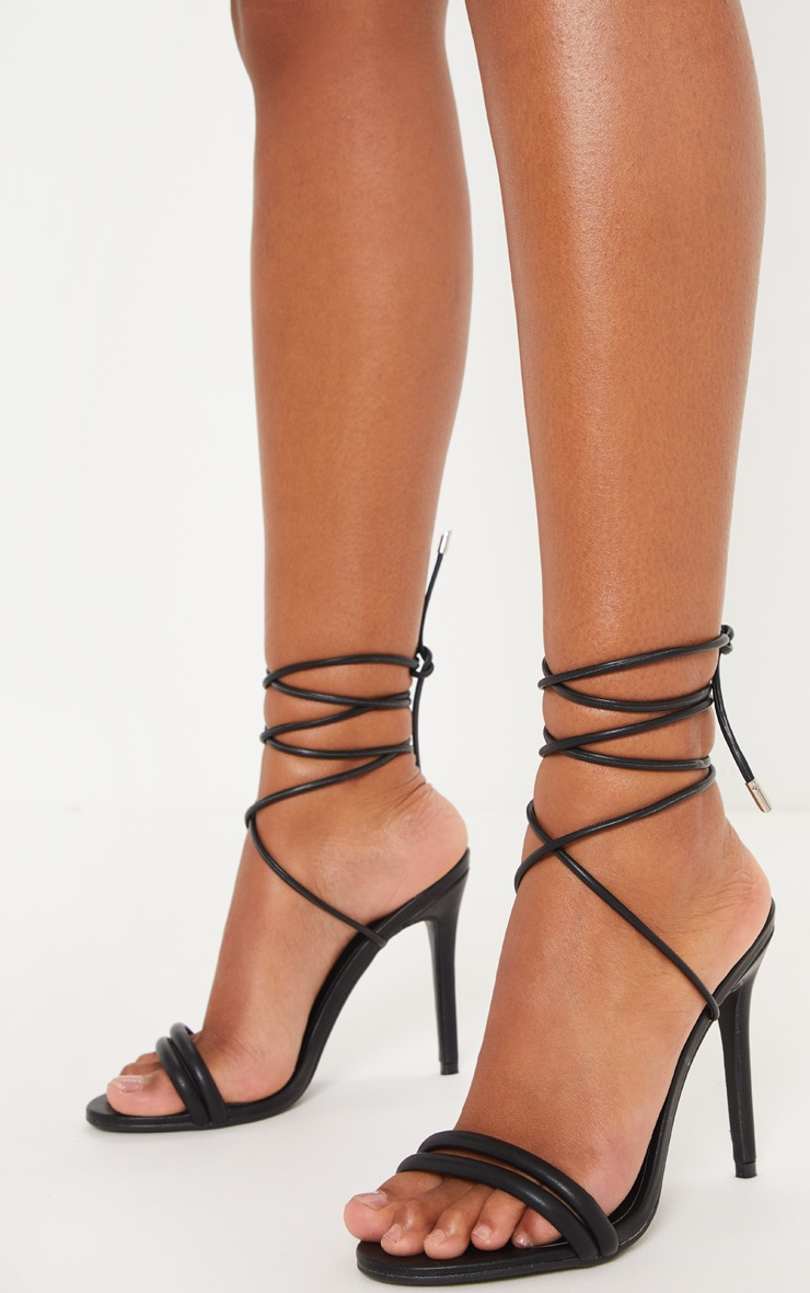 Black Strappy Leg Tie Heeled Sandal 1