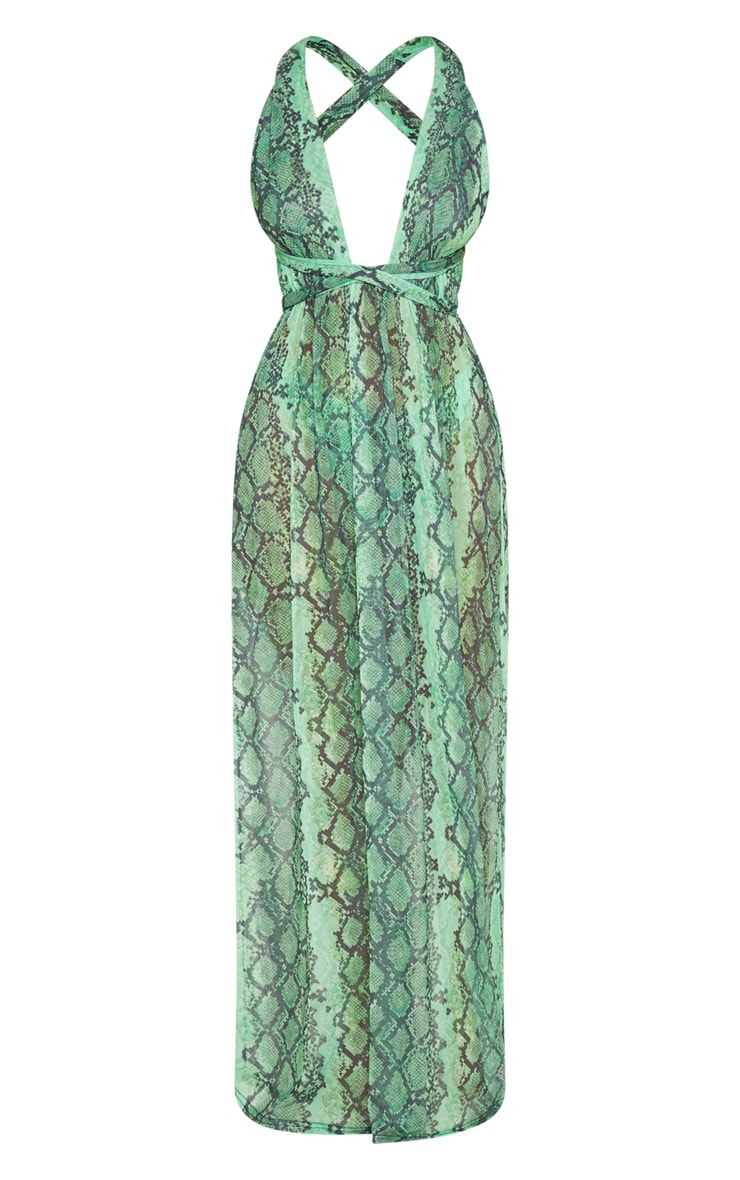 Green Snake Halterneck Maxi Beach Dress 3