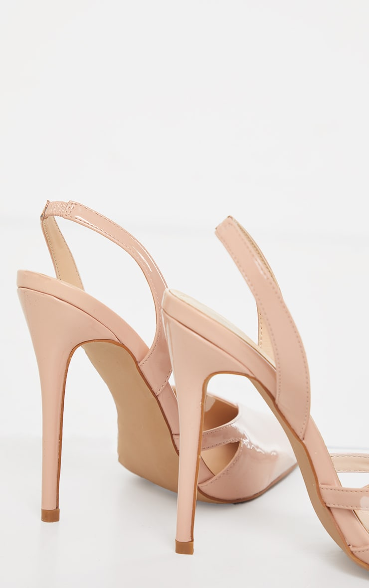 Nude Patent Pu Sling Back Cut Out High Heel Court Shoes 4
