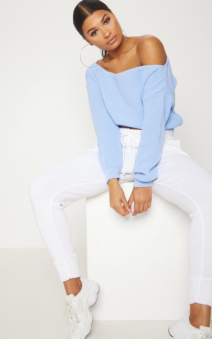 Dusty Blue Off The Shoulder Crop Jumper 4