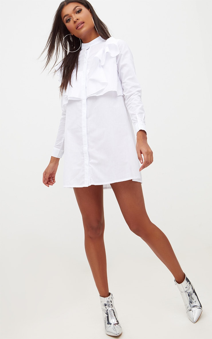 Flora White Frill Front Shirt Dress 4