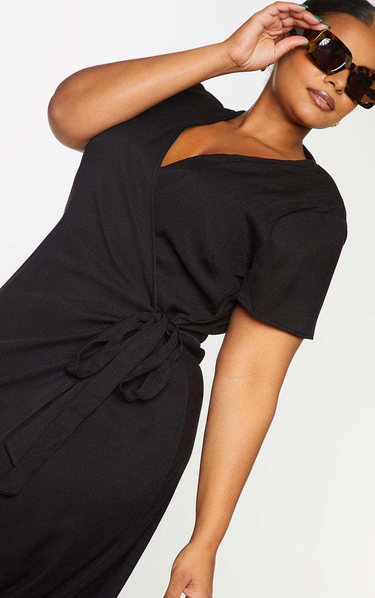 Plus Black Wrap Midi Dress 4