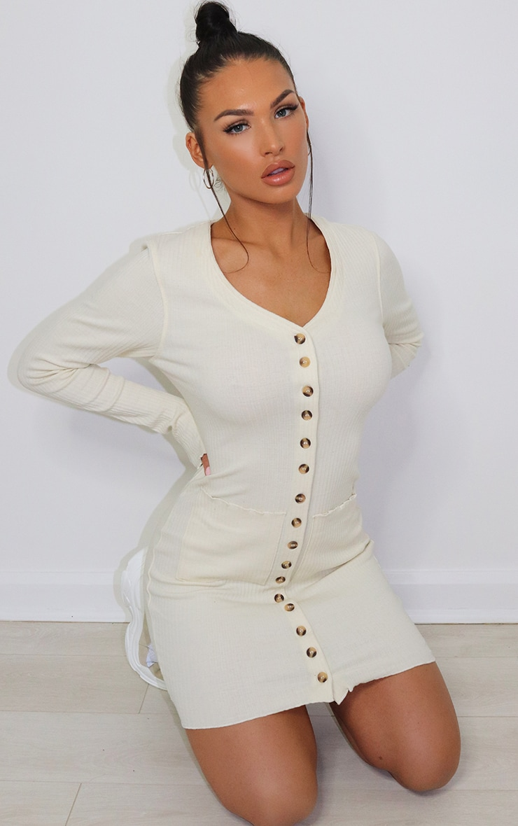 Cream Thick Rib Tortoise Shell Button Cardigan Dress 1