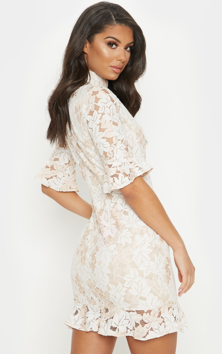 Nude Lace Frill Sleeve High Neck Bodycon Dress 2