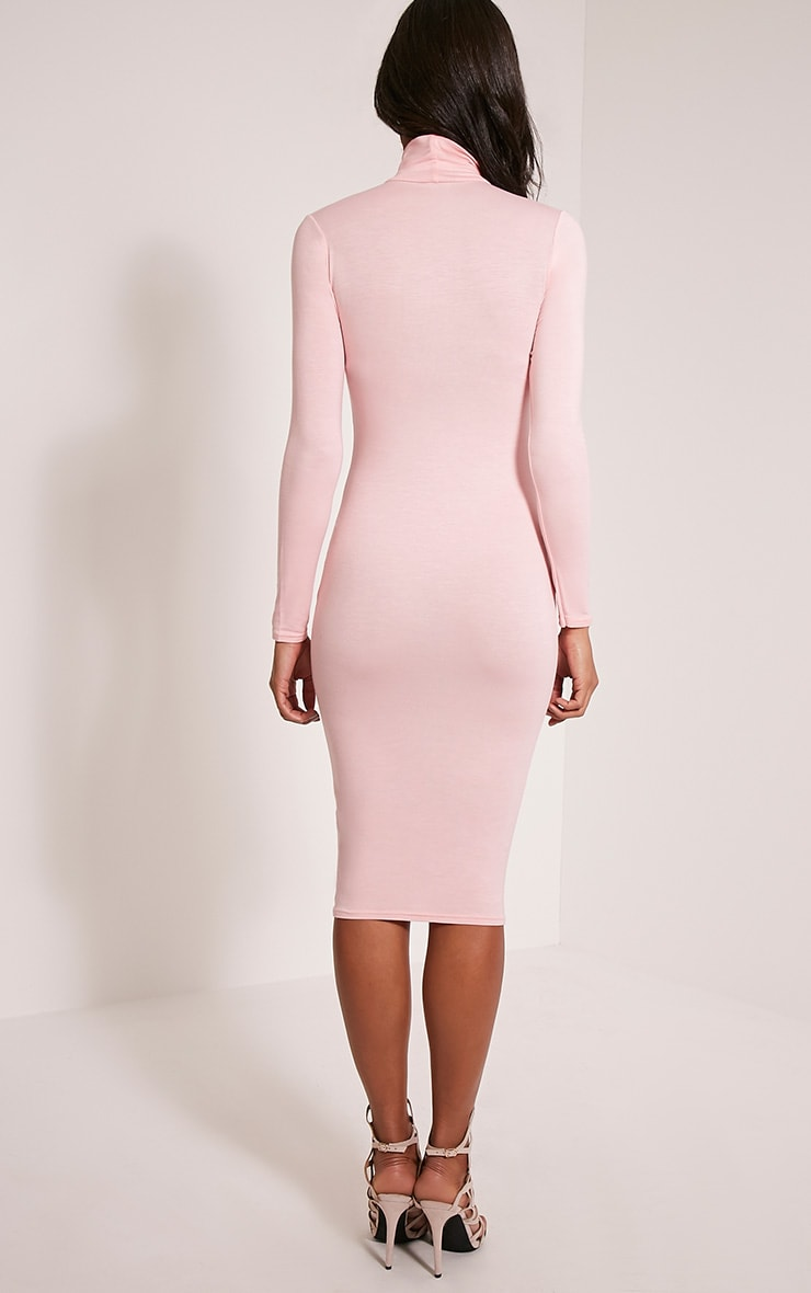 Basic Candy Pink Roll Neck Midi Dress 2