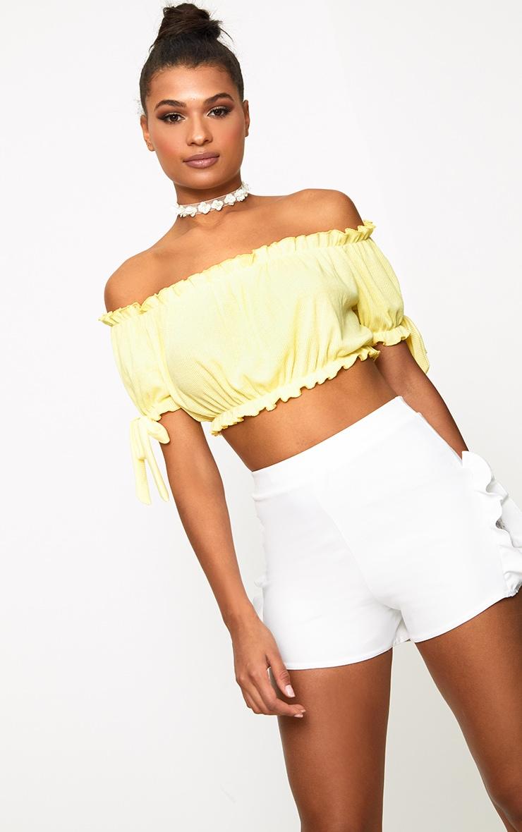 Lemon Bow Sleeve Jersey Crop Top 1