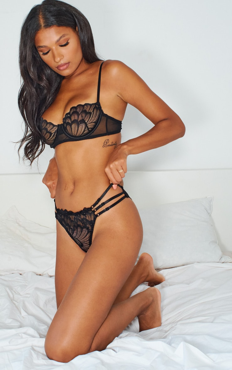 Black Contrast Lace Strapping Detail Lingerie Set 3