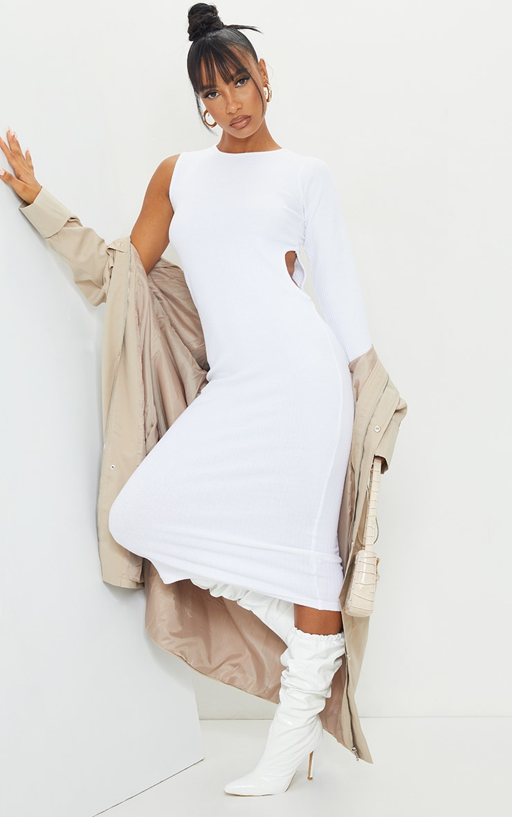 White Rib Cut Out Midi Dress 1