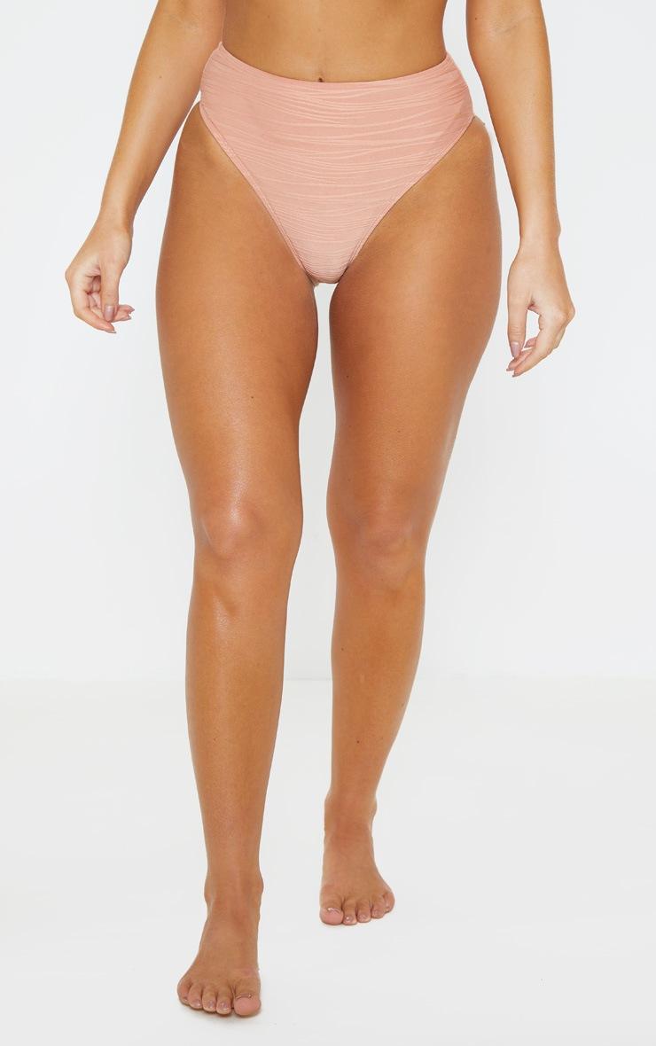 Nude High Waist Textured Bikini Bottoms 2