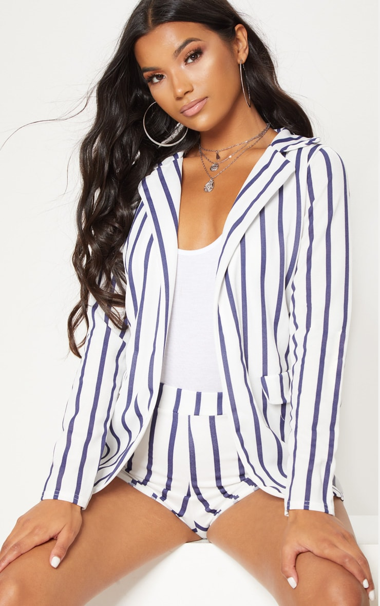 Blue Striped Pocket Detail Blazer
