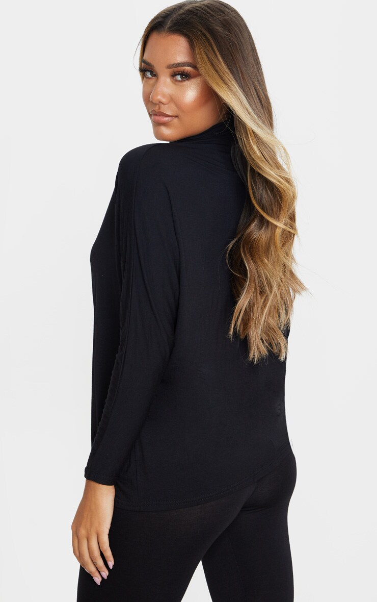 Black Jersey High Neck Long Top 2