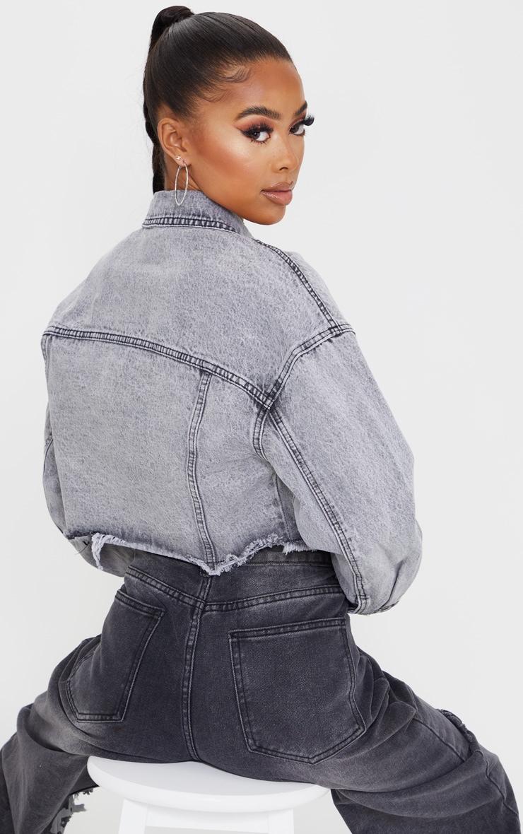 Veste en jean gris délavé à ourlet élimé 2