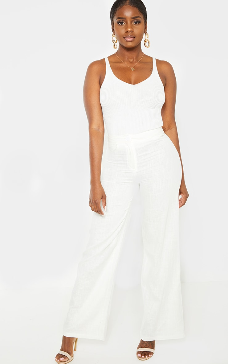 Petite White Wide Leg High Waisted Trouser 1