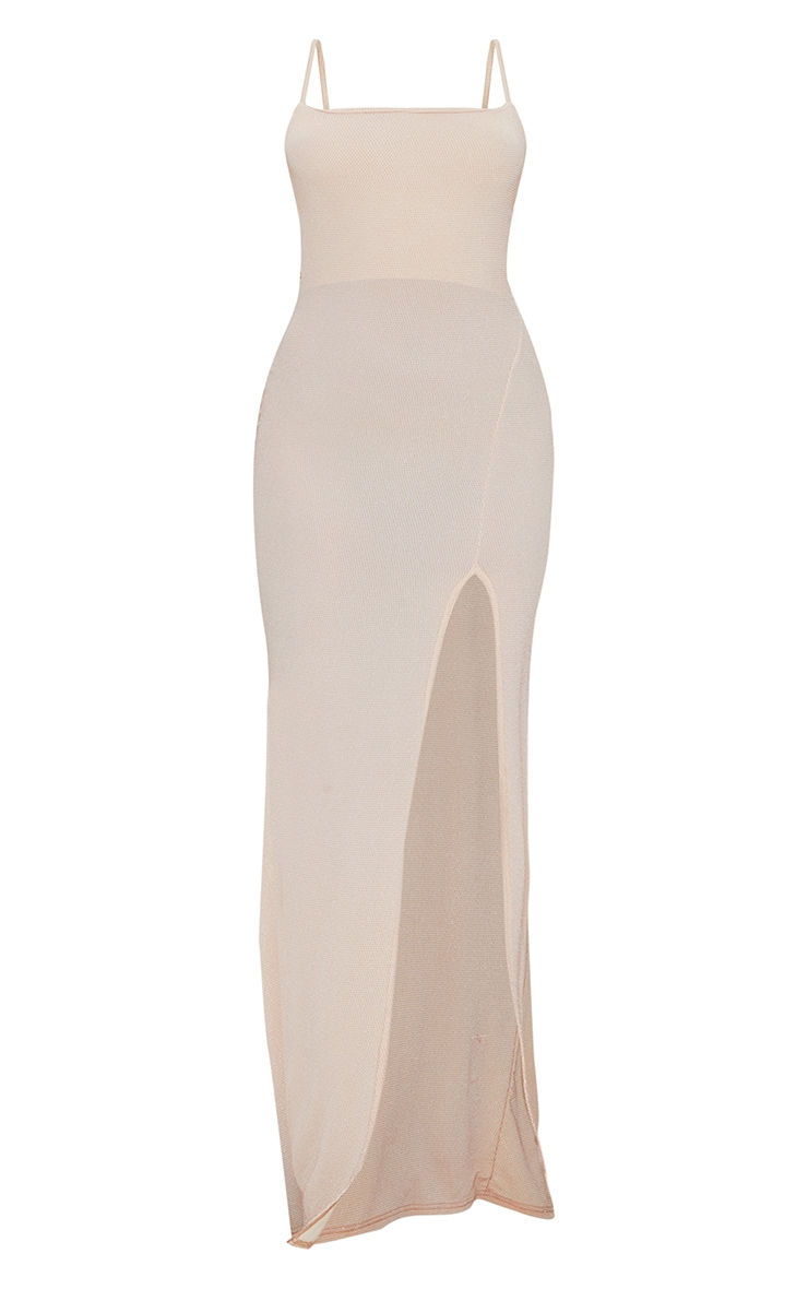 Nude Textured Glitter Split Maxi Dress 5