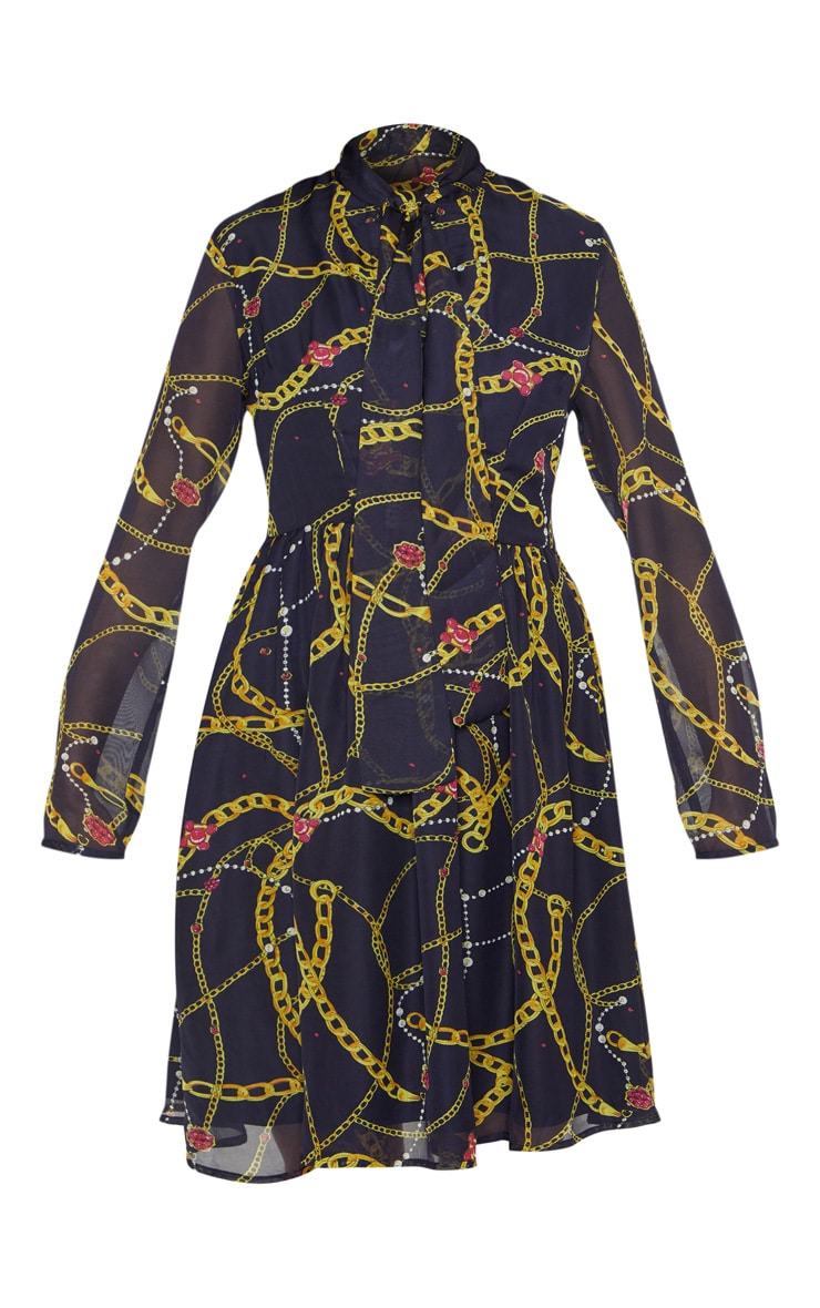 Black Chain Print Neck Tie Button Front Midi Smock Dress 3
