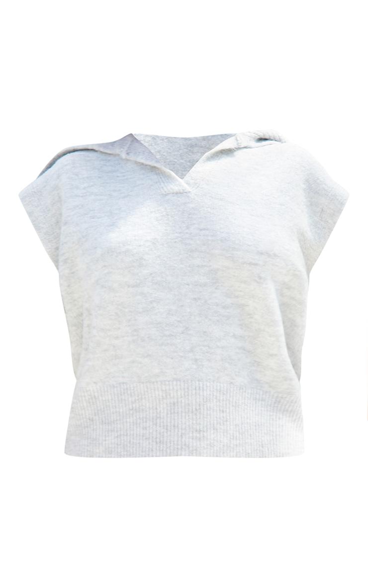 Petite Light Grey Soft Collared Knitted V Neck Vest 5