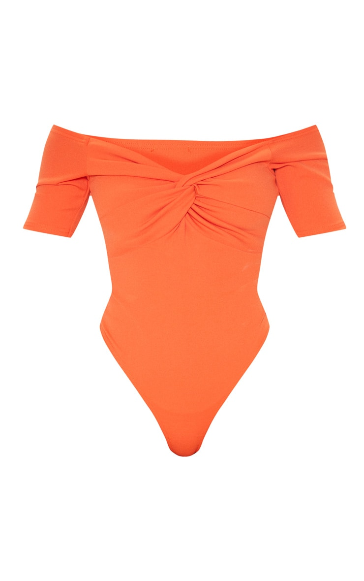 Orange Bardot Twist Front Bodysuit  3