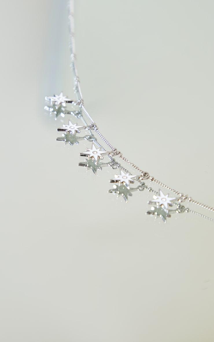 Silver Multi Star Charm Necklace 4