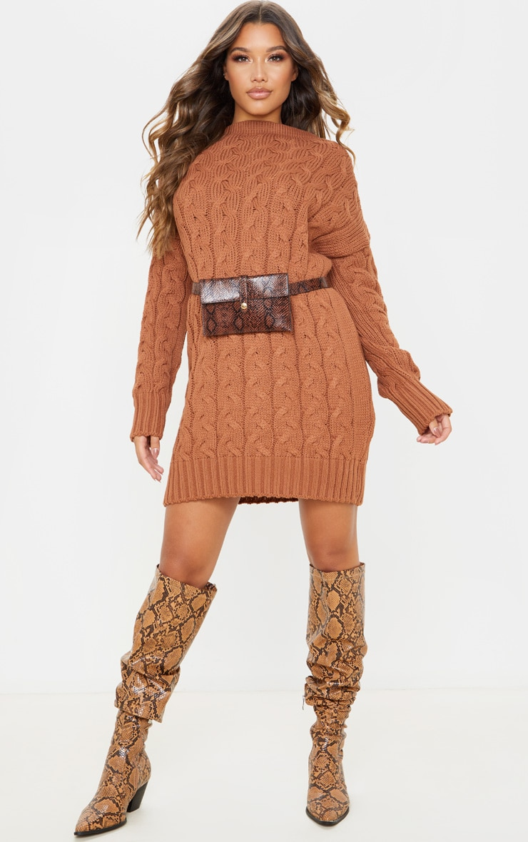 Tan Cable Detail Knitted Jumper Dress  4