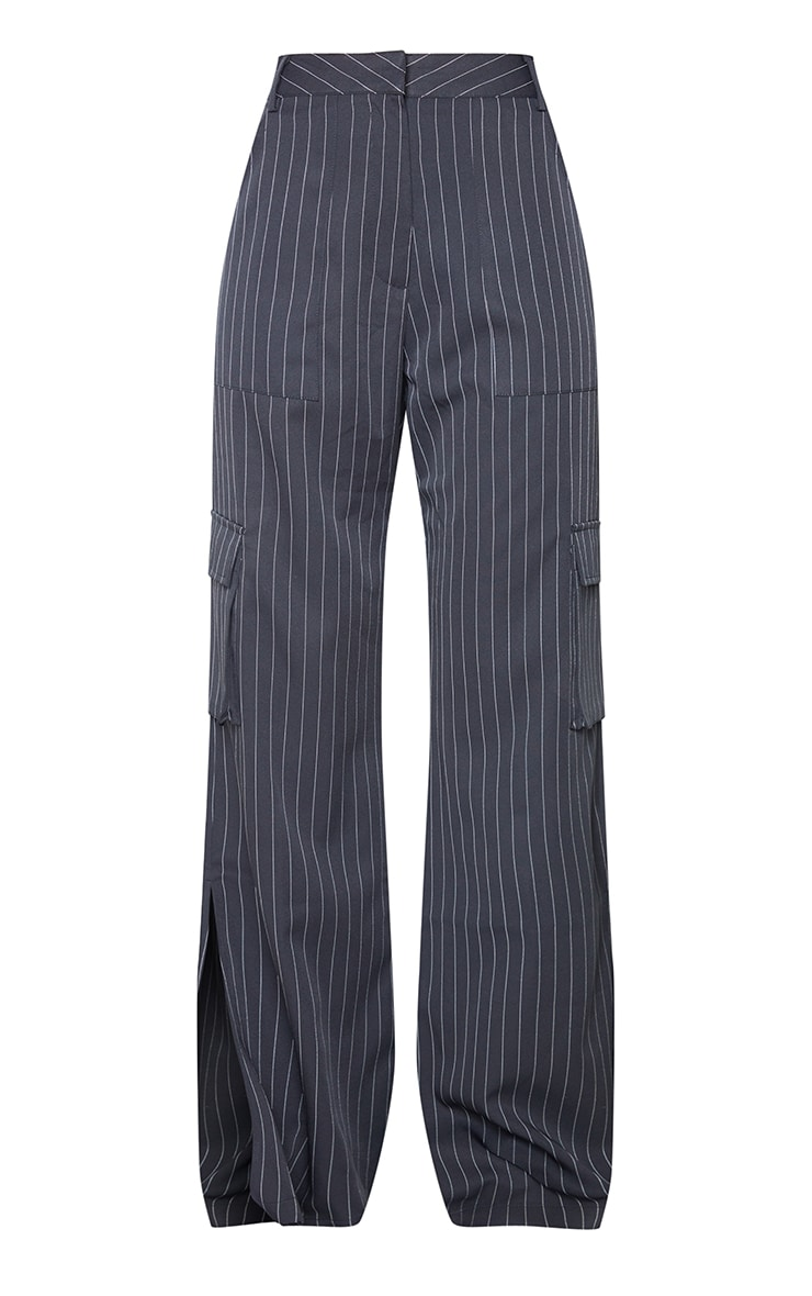 Charcoal Pinstripe Wide Leg Pocket Detail Trousers 5