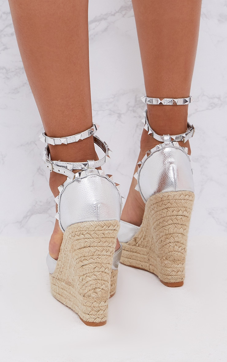 Silver Studded Strap Wedges 3