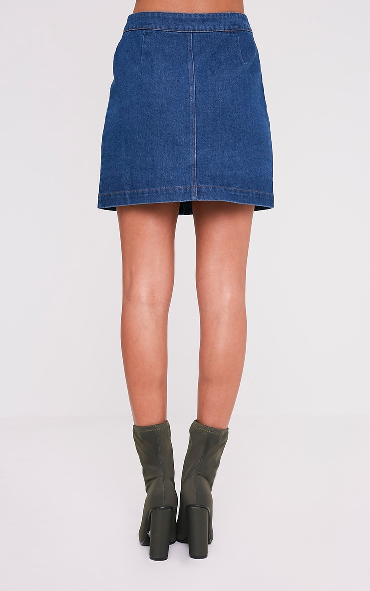 Zulia Dark Wash Denim Distressed Button Through Mini 5