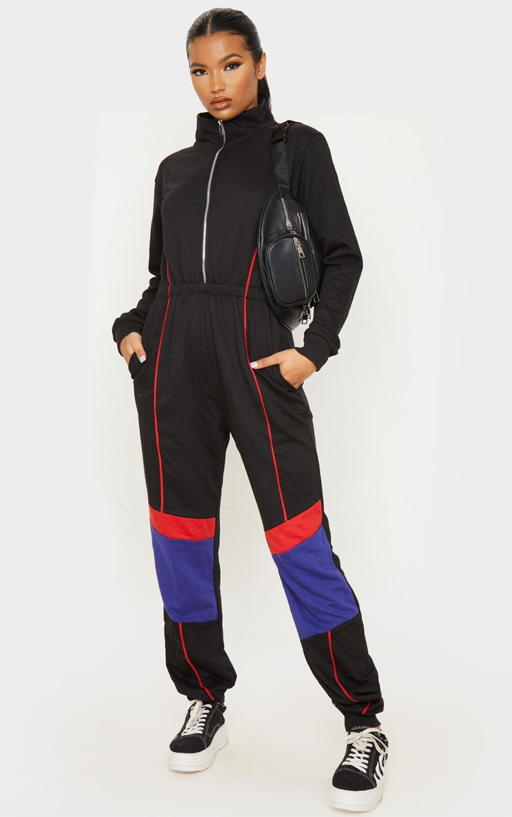 Black Zip Detail Colour Block Sweat Jumpsuit 4
