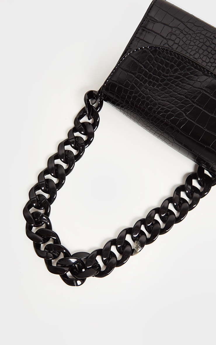 Black Croc Chunky Chain Shoulder Bag 4