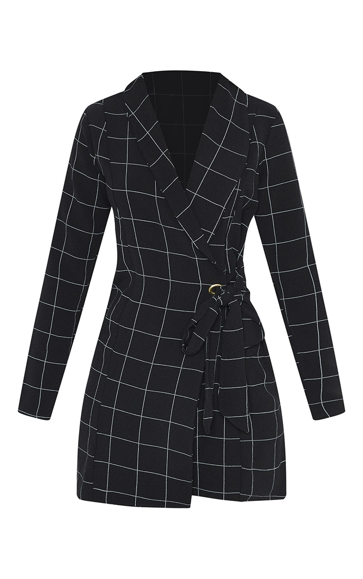 Black Checked Long Sleeve Blazer Dress 3