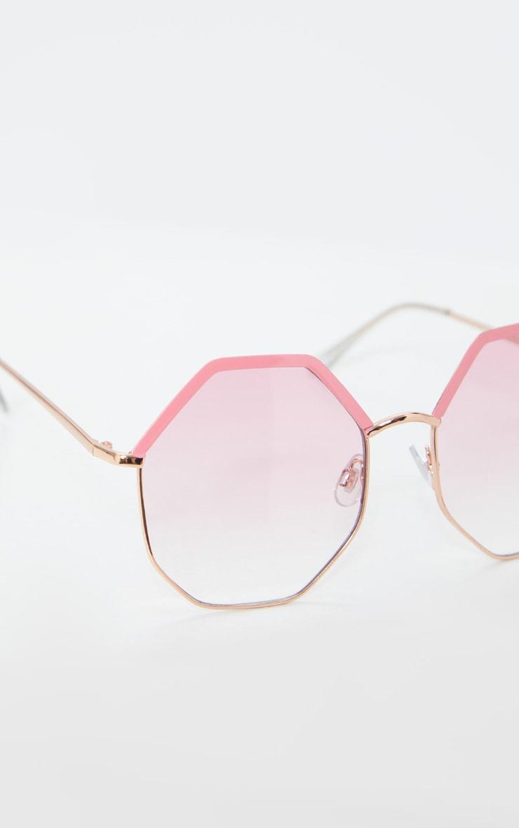Pink Hexagon Frame Sunglasses 3