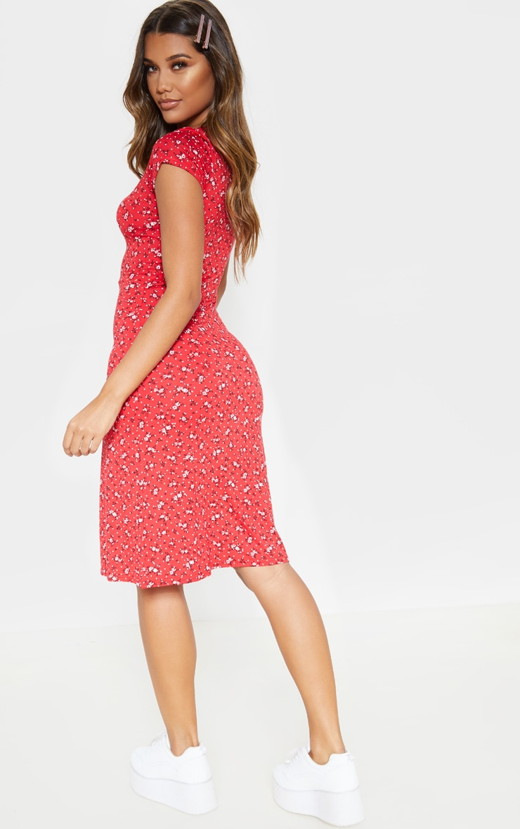Red Ditsy Floral Jersey V Neck Split Midi Dress 2