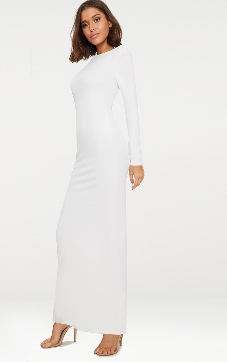 White Backless Strap Detail Long Sleeve Maxi Dress Pretty Little Thing Clearance 2018 Sale Real B3MTYXK