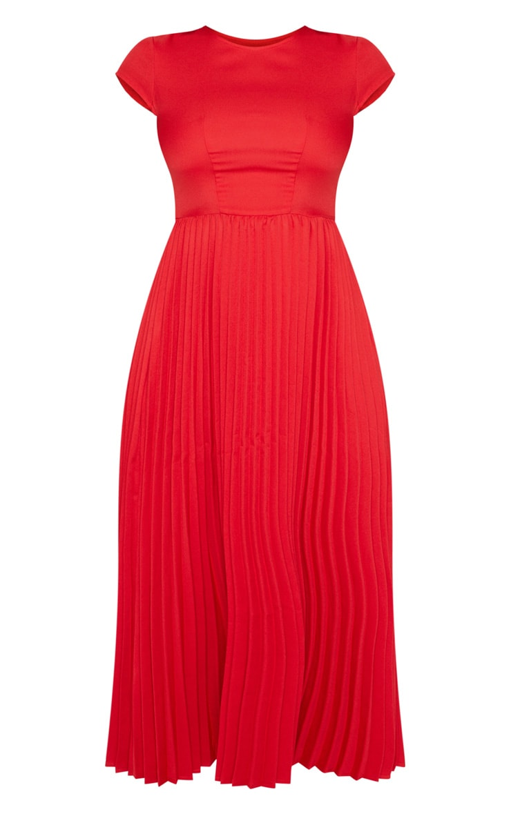 Red Cap Sleeve Pleated Midi Skater Dress 3