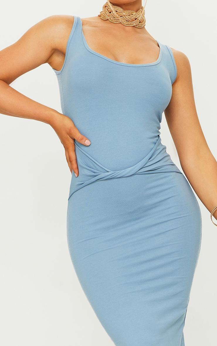 Blue Cotton Sleeveless Twist Waist Midi Dress 4