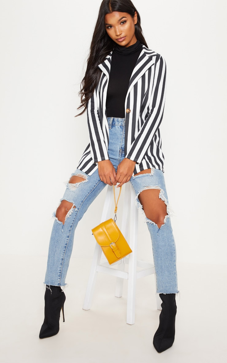 Black Striped Boyfriend Blazer
