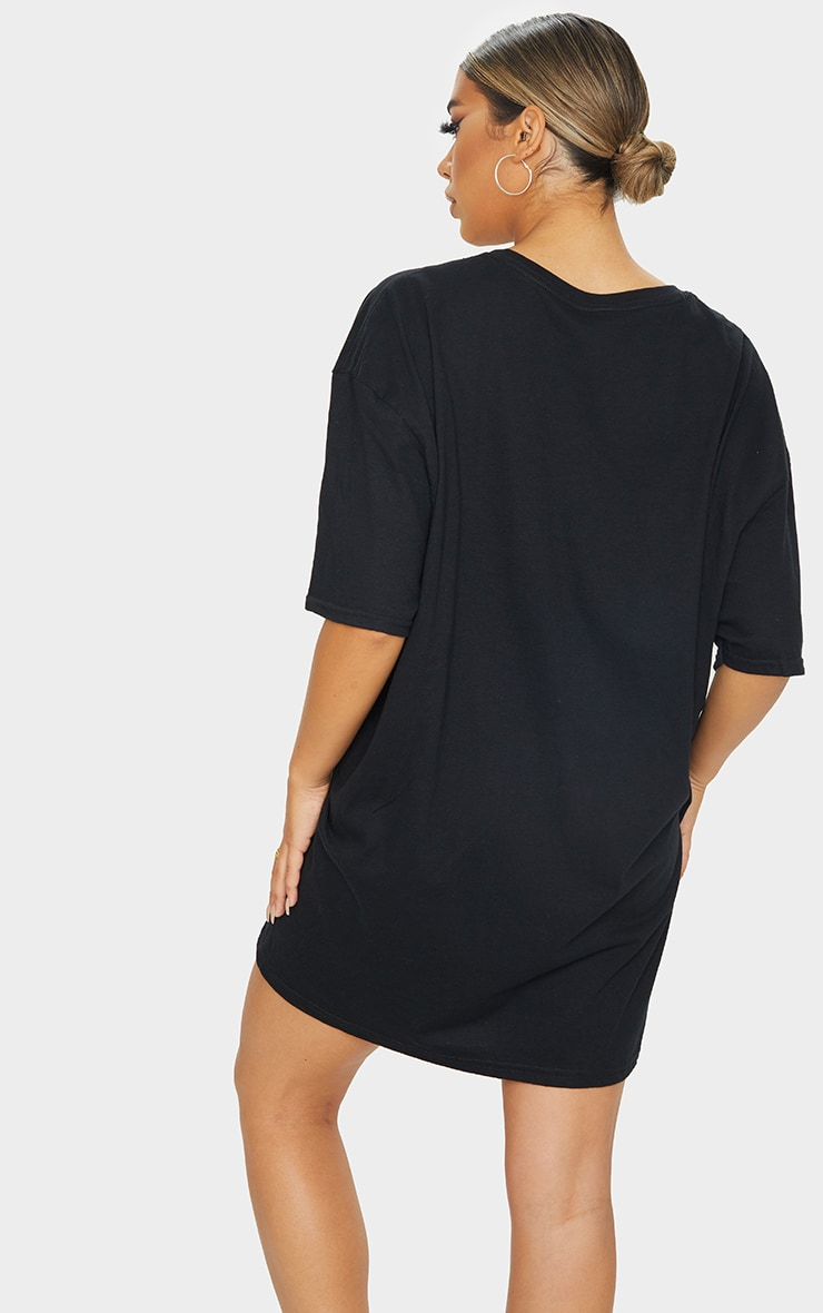 PRETTYLITTLETHING Black Slogan Short Sleeve T Shirt Dress 2