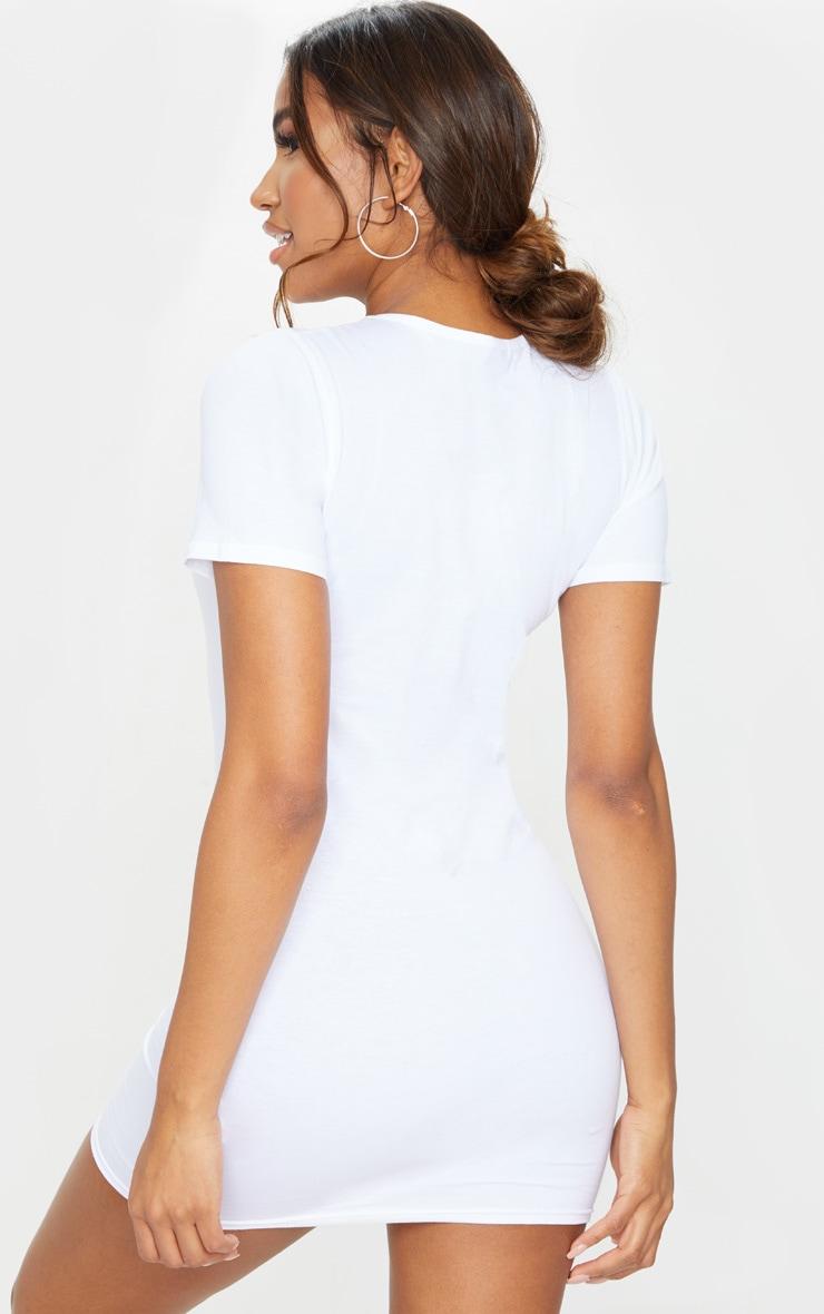 White Short Sleeve Bodycon Dress 2