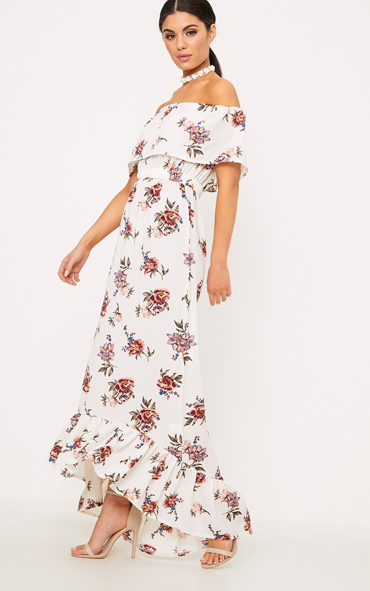 Julianna White Bardot Floral Maxi Dress 1