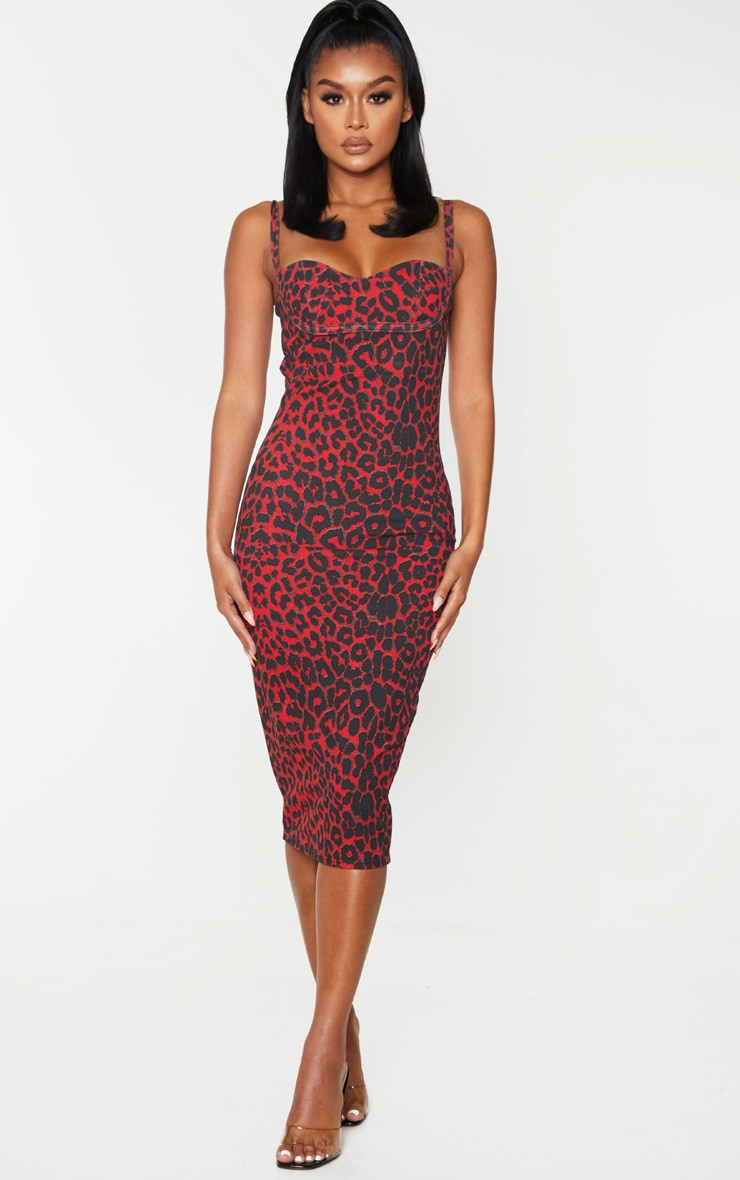 Red Leopard Print Strappy Cup Detail Midi Dress