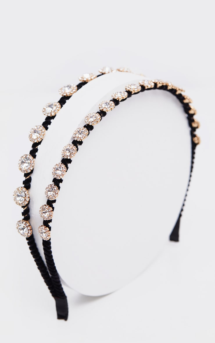 Black Double Row Crystal Headband 3