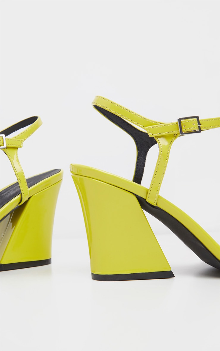 Neon Yellow Block Heel Sandal 4