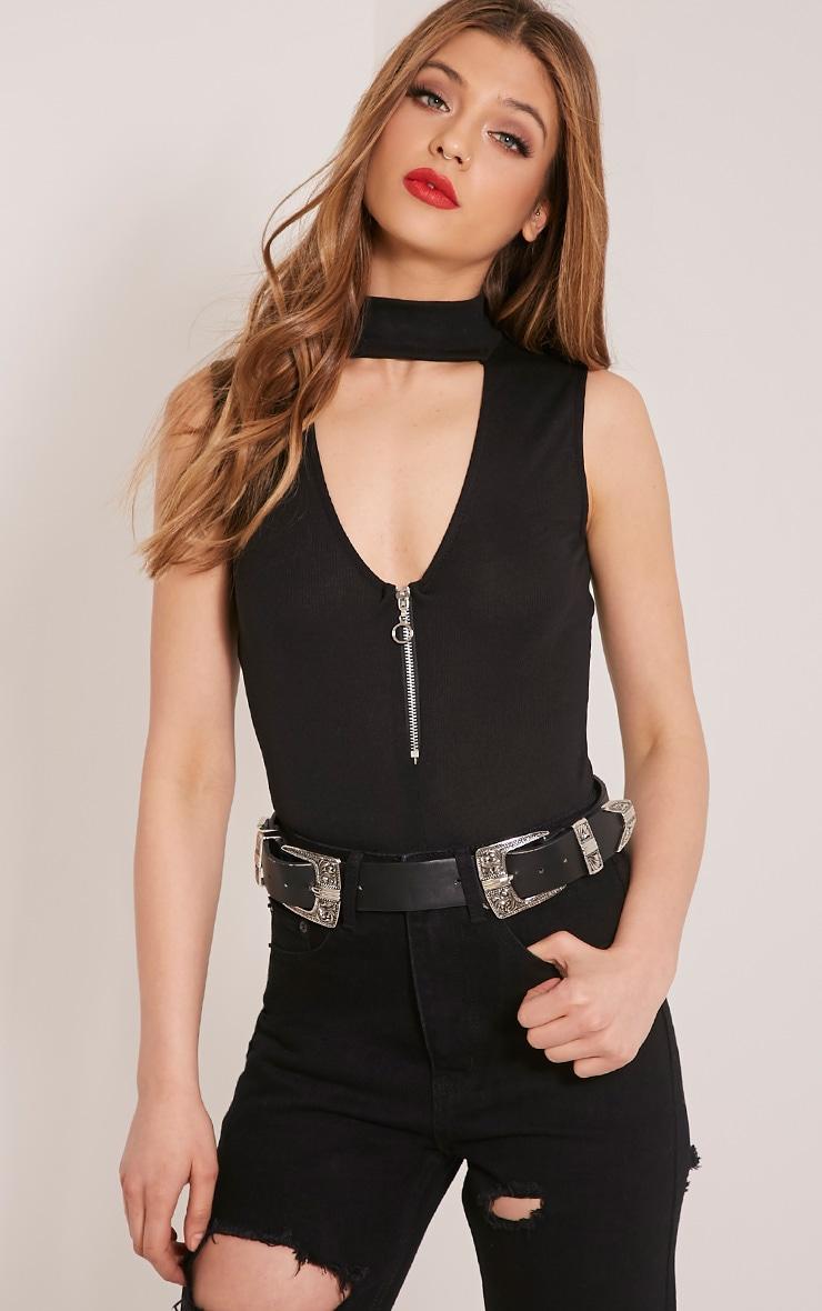 Emelli Black Circle Zipper Bodysuit 1