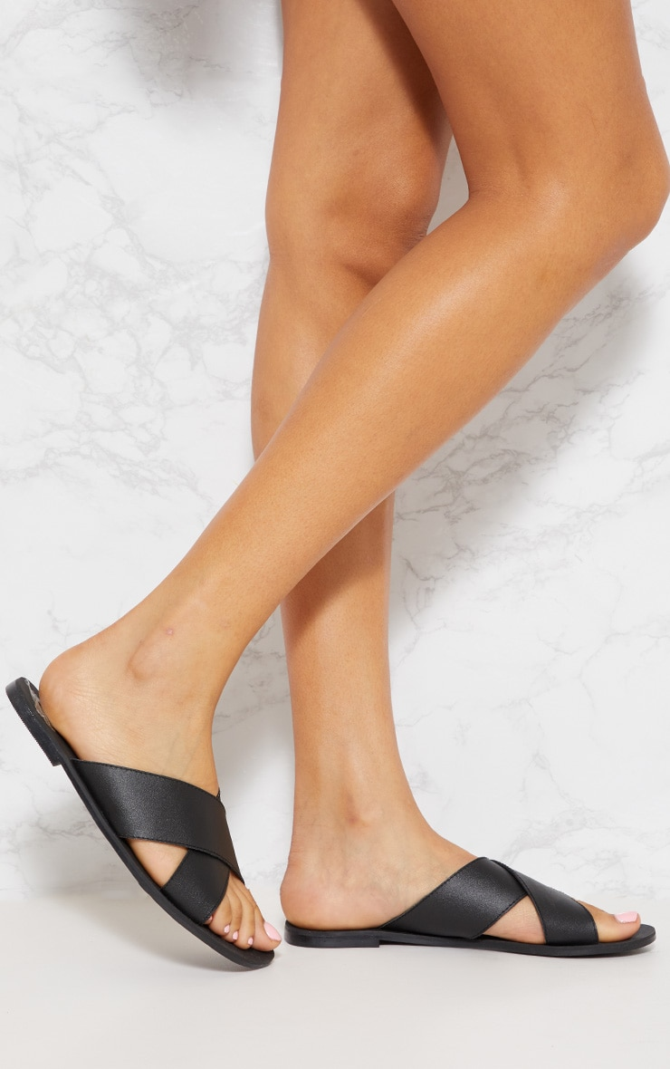 Black Leather Cross Strap Sandal