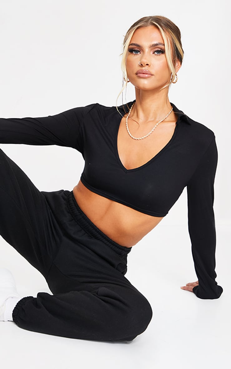 Black Jersey Long Sleeve Collar Cut Out Tie Back Crop Top 2