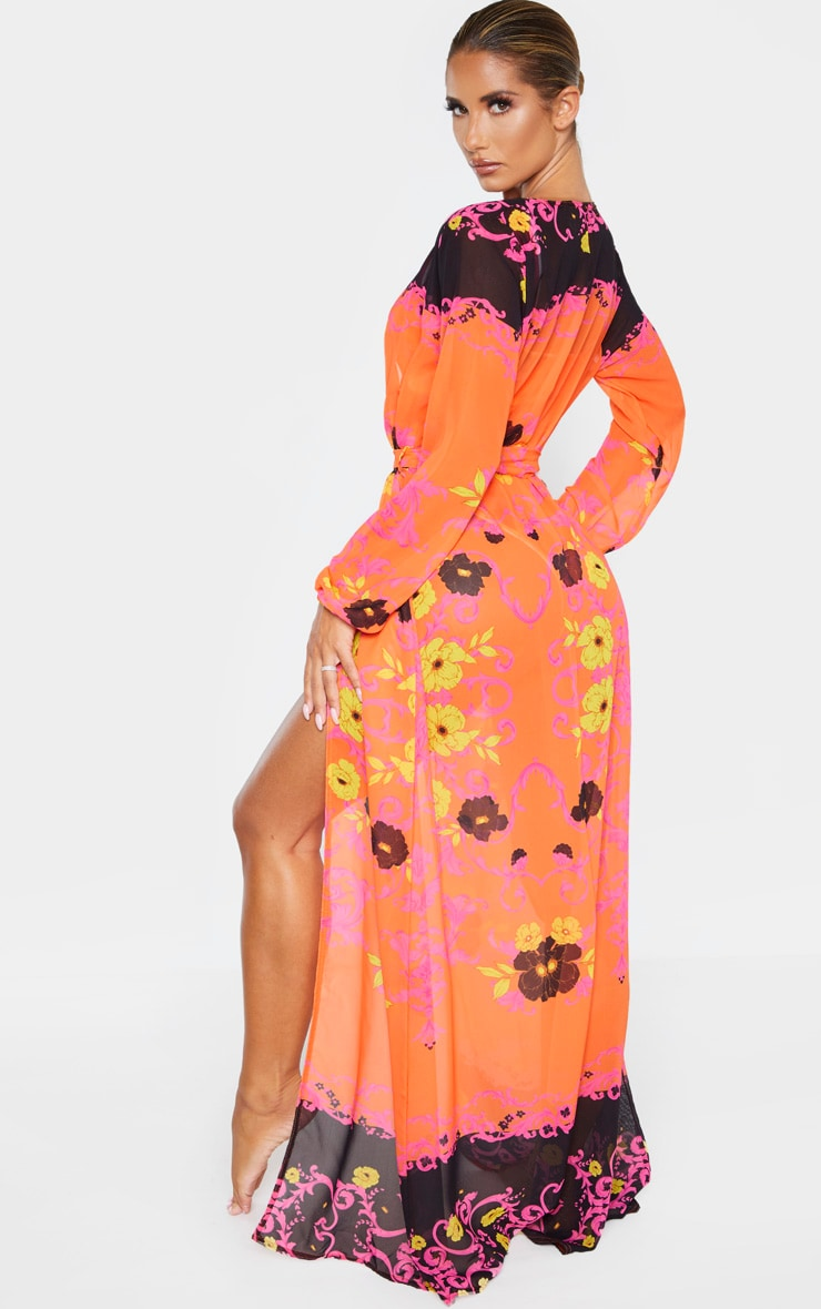 Kimono plissé imprimé baroque rose floral à lien 2