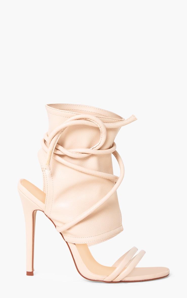 Elrica Nude Tie Ankle Sock Heels  3